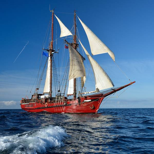 Historical sailing ship on the water